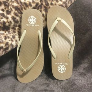 Tory Burch Wedge Flip Flops Tan Size 9
